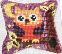 Small Owl Chunky Cross Stitch Cushion Kit by Orchidea