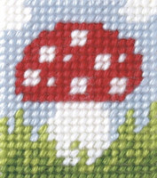 My first Embroidery Mini Needlepoint Kit Toadstool By Orchidea