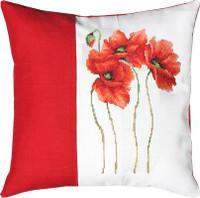 Three Poppies Split Cushion Cross Stitch Kit by Luca-S