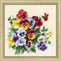 Pansy Medley Cross Stitch Kit by Riolis