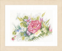 Counted Cross Stitch Kit: Watercolor Flowers (Linen) By Lanarte
