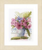 Counted Cross Stitch Kit: Flowers in Bucket (Aida,W) By Lanarte
