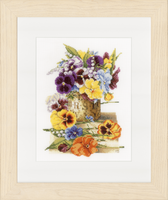 Counted Cross Stitch Kit: Pot of Pansies (Aida,W) By Lanarte