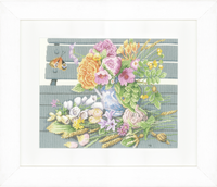 Flowers on Bench (Aida) Counted Cross Stitch Kit By Lanarte