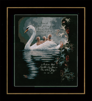 Swan with Cygnets (Aida,B) Counted Cross Stitch Kit By Lanarte