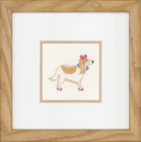 Dog with Pink Bow Counted Cross Stitch (Linen) By Lanarte