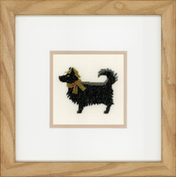 Dog in Hat (Linen) Counted Cross Stitch Kit By Lanarte