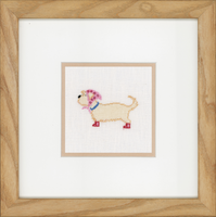 Dog in Scarf (Linen) Counted Cross Stitch Kit By Lanarte
