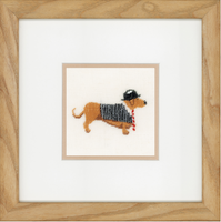 Dog in Bowler (Linen) Counted Cross Stitch Kit By Lanarte