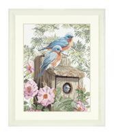 Garden Bluebirds (Aida,W) Counted Cross Stitch Kit by Lanarte