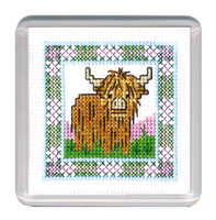 Wee Hieland Coo Coaster Cross Stitch Kit by Textile Heritage