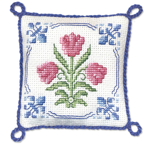 Delft Tulips Pin Cushion Cross Stitch Kit by Textile Heritage
