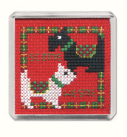Scottie & Westie Fridge Magnet Cross Stitch Kit by Textile Heritage