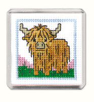 Wee Hieland Coo Fridge Magnet Cross Stitch Kit by Textile Heritage