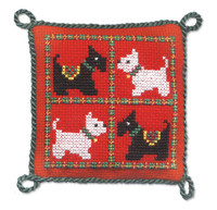Scotties & Westies Pin Cushion Cross Stitch Kit by Textile Heritage