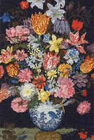 Bosschaert A Still Life of Flowers in a Wan-Li Vase Cross Stitch Kit By DMC