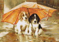 Dogs Under an Umbrella Cross Stitch Kit by Luca-S