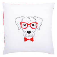 Dog with Red Glasses  Embroidery Cushion Kit By Vervaco