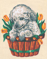 Puppy and Tulips Canvas only By Grafitec