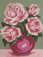 Pink Rose Vase Canvas only By Grafitec