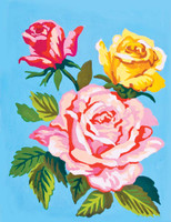 Roses on Blue Canvas only By Grafitec