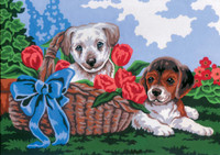Puppies in a Basket Canvas only By Grafitec