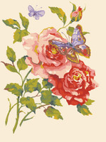 Pink Roses and Butterfly Canvas only By Grafitec