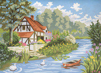 Cottage by the Stream Canvas only By Grafitec