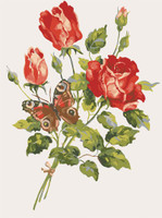 Red Roses and Butterfly Canvas only By Grafitec