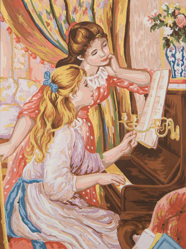 Girl at the Piano Canvas only By Grafitec