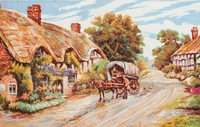 Thatched Cottage Lane Canvas only By Grafitec