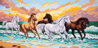 Galloping through the Waves Canvas only By Grafitec