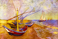 Boats at Sainte-Maries Canvas only By Grafitec