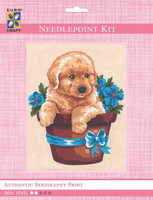 Puppy in Flower Pot  Tapestry Kit By Grafitec