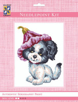 Puppy with Flower Hat  Tapestry Kit By Grafitec