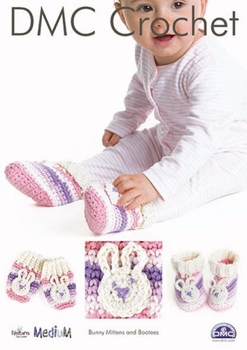Bunny Mittens & Bootees  Crochet Pattern by DMC