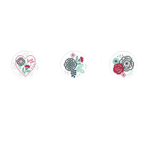 Modern Flowers (Set of 3 Card)  Cross Stitch Kit By Vervaco