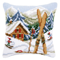 Snow Fun  Cross Stitch Cushion Kit By Vervaco