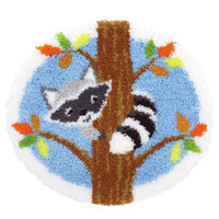 Raccoon in the Tree  Latch Hook Rug By Vervaco