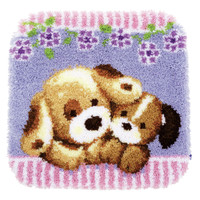 Cuddling Dogs  Latch Hook Rug By Vervaco