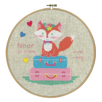 Lief! Fox on Travel Birth Record Counted Cross Stitch Kit By Vervaco