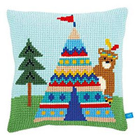 Lief! Bear and Tepee Chunky Cushion Cross Stitch Kit By Vervaco