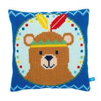 Lief! Bear with Feather Chunky Cross Stitch Cushion Kit By Vervaco