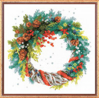 Wreath with Blue Spruce Cross Stitch Kit By Riolis