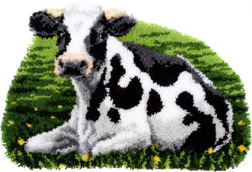 Cow Resting Latch Hook Rug Kit By Vervaco