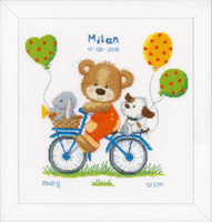 Cycling Bear Birth Sampler Cross Stitch Kit By Vervaco