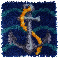 Ships Anchor Latch Hook Rug  By Grafitec