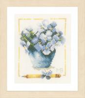 Pot With Violets Cross Stitch Kit By Lanarte