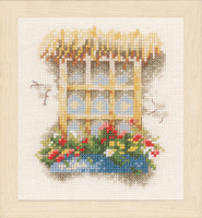 Window & Flowers Cross Stitch Kit By Lanarte