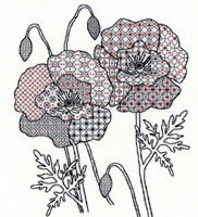 Blackwork Poppy By Bothy Threads